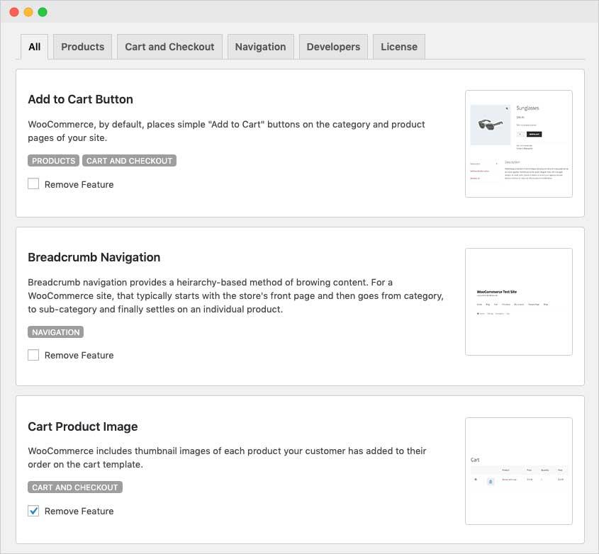Remove WooCommerce Features Screenshot