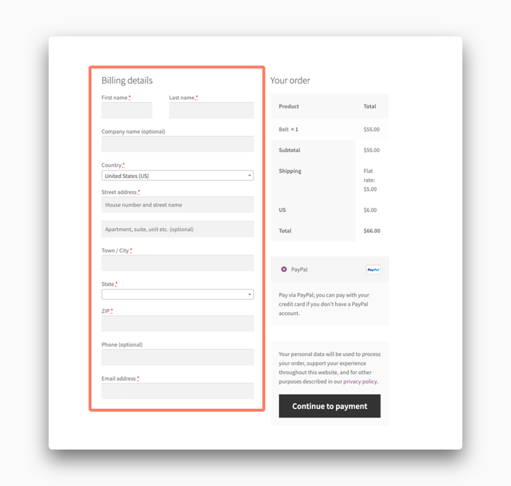 An example of Checkout Fields for Billing in WooCommerce