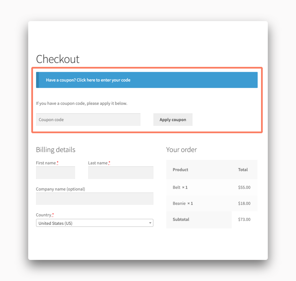 Coupon Code Fields in WooCommerce