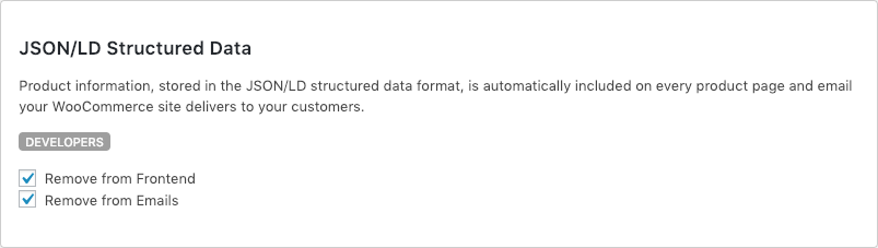 Remove WooCommerce Features - JSON/LD Structured Data