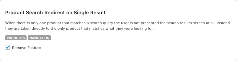 Remove WooCommerce Features - Product Search Redirect on Single Result