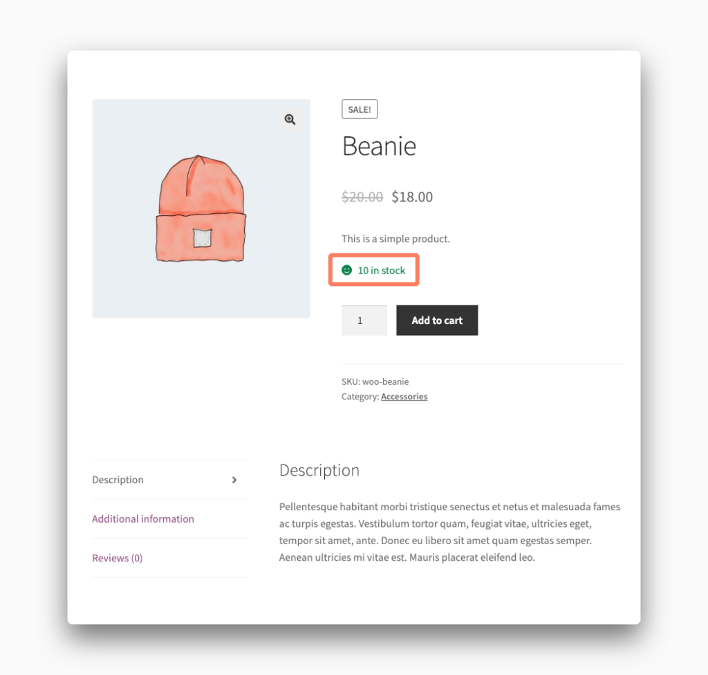 Stock Message in WooCommerce