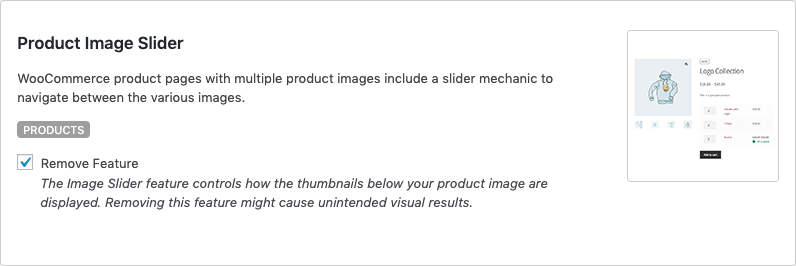 Remove WooCommerce Features - Product Image Slider
