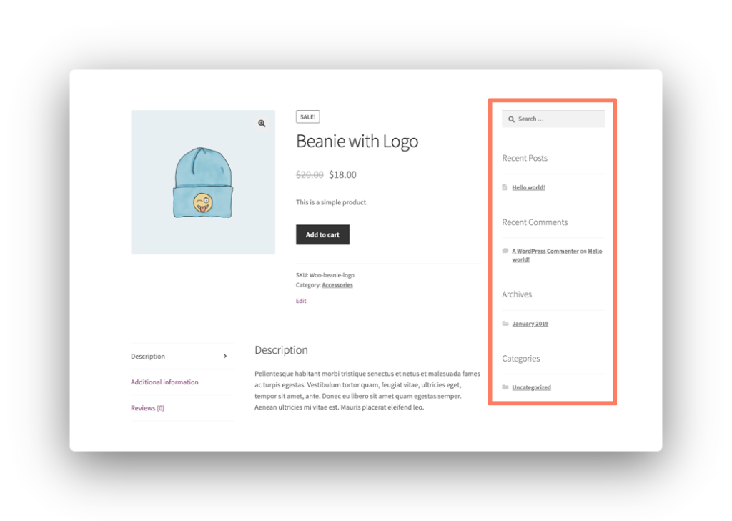 Product Page Sidebar Screenshot