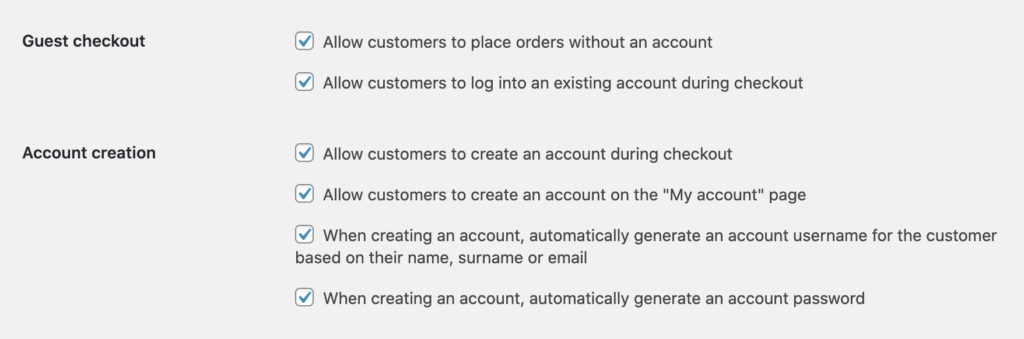 WooCommerce Customer Account Settings